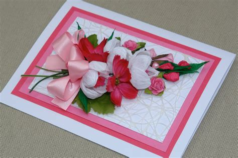 Pink Handmade Cards - handmade blank card with bouquet of pink handmade papers