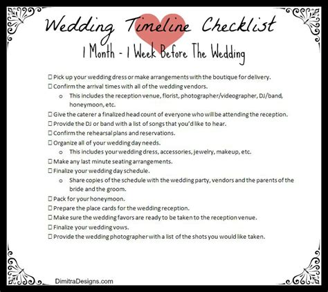 Wedding Checklist Last 2 Weeks by Wedding Planner One Week Wedding Checklist