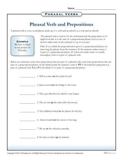 phrasal verbs and prepositions worksheet 3rd 4th 5th grade