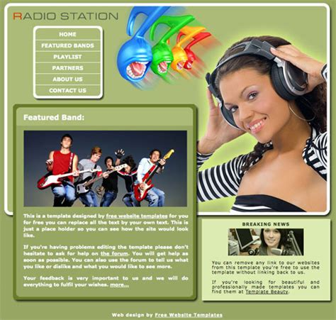 template photoshop radio radio station template free website templates