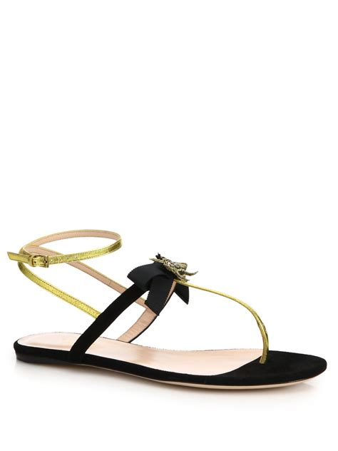 Gucci 383 Black Gold gucci moody suede and leather sandals in black lyst