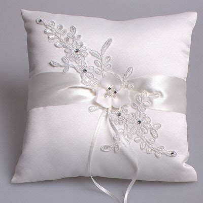 gorgeous white satin and lace ring pillow with pearl