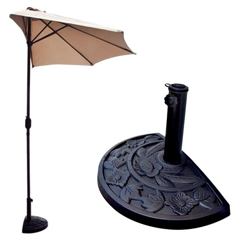 Half Patio Umbrella 10 Ft Half Patio Umbrella Beige Outdoor Wall Balcony Sun Shade Awning Ebay