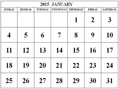 printable monthly calendar 2015 black and white 2015 january calendar clipart