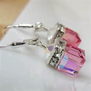 pink earrings handmade swarovski jewelry by