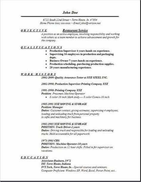 Restaurant Resume Templates Restaurant Service Resume Occupational Examples Samples