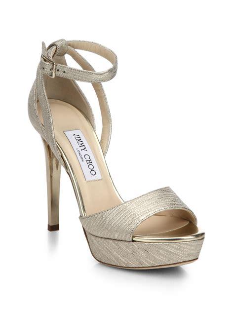 jimmy choo platform sandals lyst jimmy choo metallic leather platform sandals