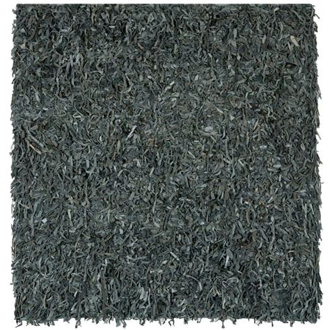 grey leather rug safavieh leather shag grey 8 ft x 8 ft square area rug lsg511n 8sq the home depot