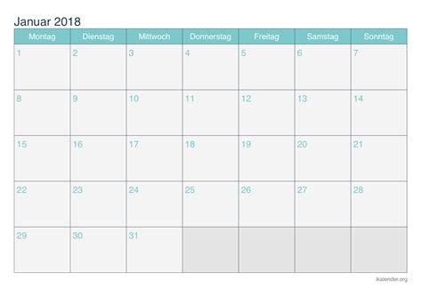 Kalender Januar 2018 Kalender Januar 2018 Zum Ausdrucken Ikalender Org