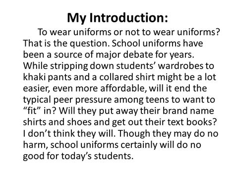 School Uniforms Debate Essay by Persuasive Writing Ppt