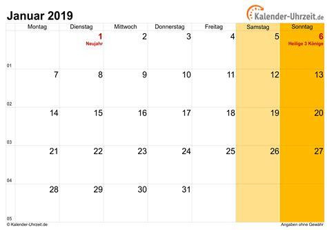 Kalender 2019 Zum Ausdrucken Januar 2019 Kalender Mit Feiertagen
