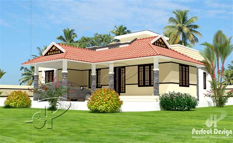 single house plans designs 1086 sq ft single floor home kerala home design