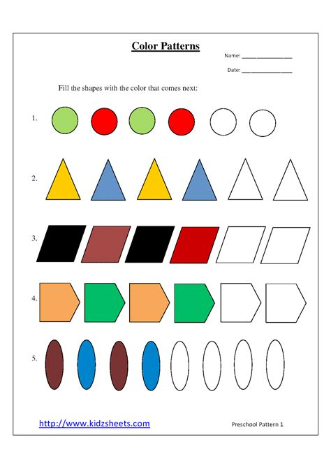 pattern ideas for kindergarten 9 best images of printable pattern worksheets for