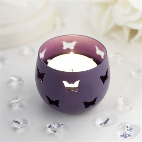 Butterfly Candle Holder purple butterfly detail metal tea light candle holder