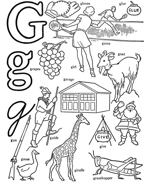 coloring pages that start with the letter g abc alphabet words abc letters words activity sheets