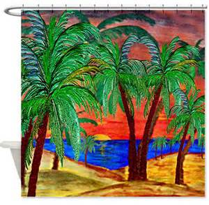 Tropical Shower Curtains Palm Mountain Sunset Shower Curtain Tropical Shower Curtains By Gifts By The