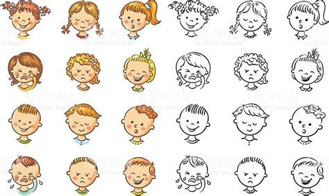 kids emotion faces found on missiekrissie blogspot it set of different kids with various emotions stock vector