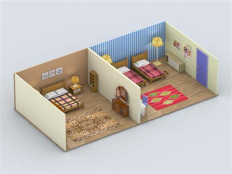 isometric view of bedroom isometric view of bedroom low poly bedrooms by geq77 3docean