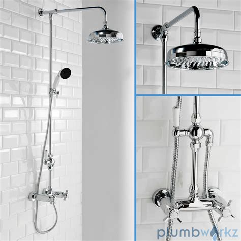 Bath Thermostatic Shower Mixer Taps traditional bathroom mixer shower exposed round chrome