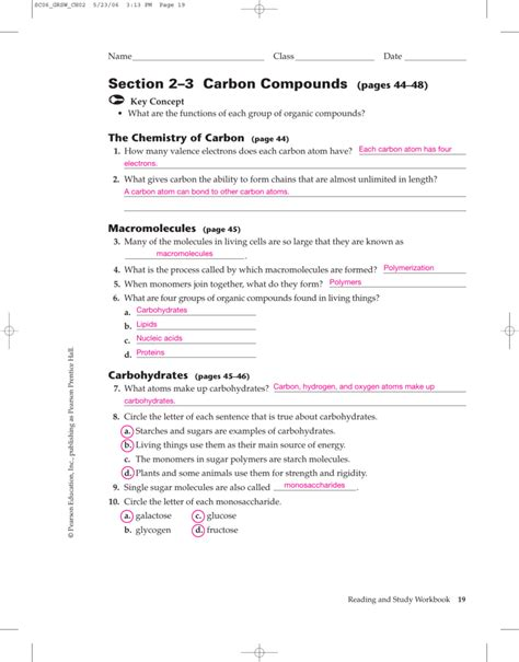 chapter 2 section 2 prentice hall chemistry worksheet answer key stinksnthings