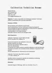 Calibration Technician Sle Resume by Resume Sles Calibration Technician Resume Sle