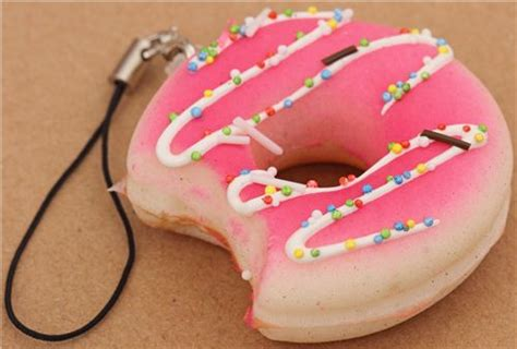 Toys Donuts Whitesugar pale pink icing donut bite squishy cellphone charm