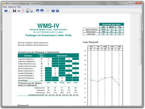 wms iii sle report wechsler memory scales fourth edition auswertungsprogramm