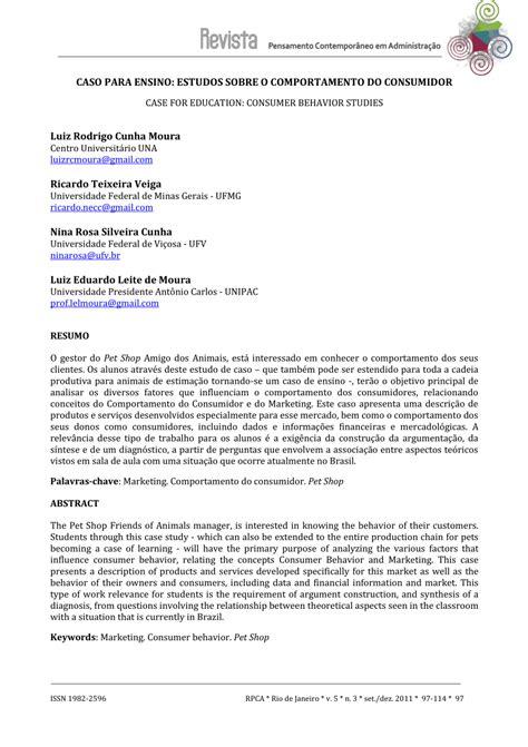 (PDF) CASO PARA ENSINO: ESTUDOS SOBRE O COMPORTAMENTO DO