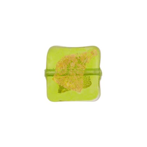 P Square Tosca murano glass bead peridot green tosca square gold