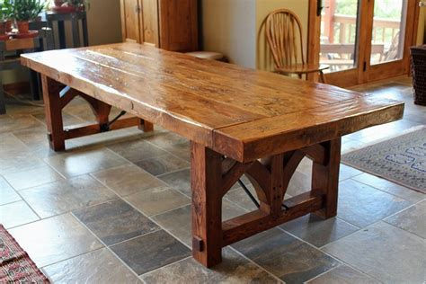rustic dining room table with bench custom farmhouse dining table by sentinel tree woodworks