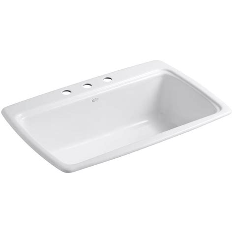 Kohler 5863 3 0 White 33 Quot Single Basin Top Mount Enameled Cast Iron Kitchen Sinks