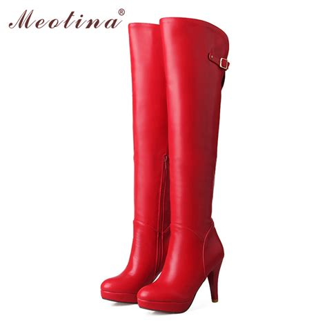 high heeled the knee boots meotina thigh high boots shoes platform high