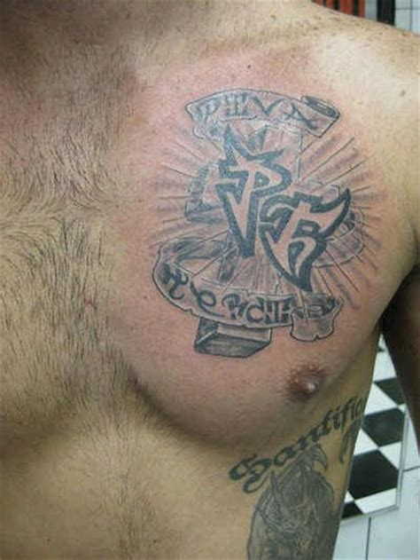cross with initials tattoos chest 61 cross with name and initials of loved
