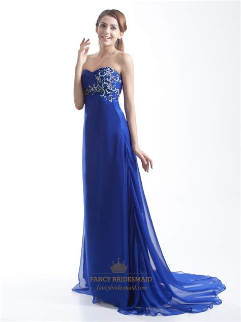 Sweetheart Dresses by Royal Blue A Line Embellished Strapless Sweetheart Chiffon