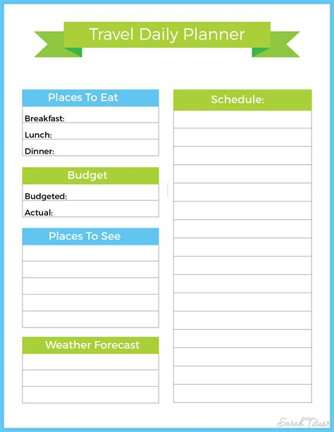 Galerry free printable daily vacation planner
