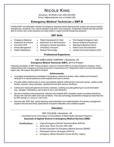 Emt Resume by Sle Emt Resume Resume Ideas