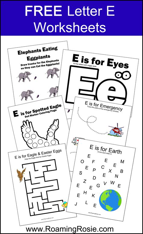 Letter E Free Alphabet Worksheets For Kids Roaming Rosie Printables Activities