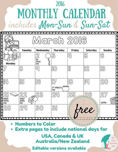printable monthly calendar child free printable 2016 calendar for kids color it yourself