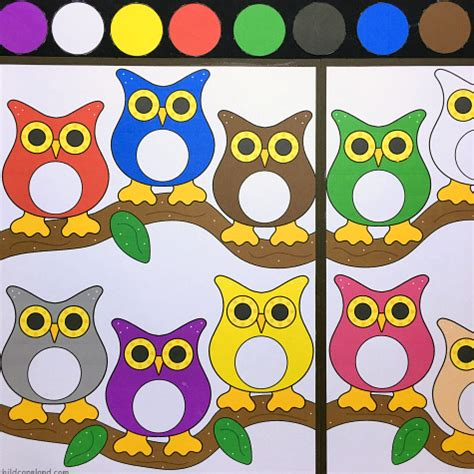 Owl Theme owl color match file folder game