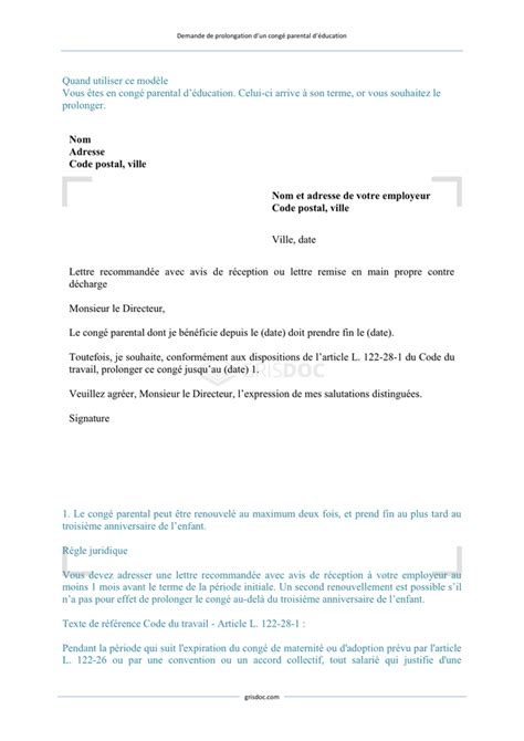 Modele Lettre Prolongation Congé Parental