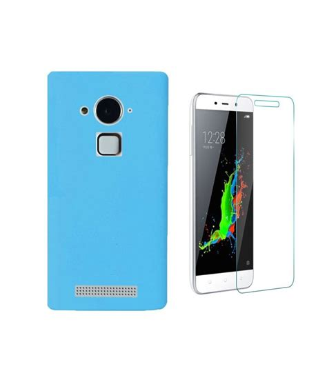 Tempered Glass Coolpad Sky 3 vvage combo of sky blue back cover with tempered glass for