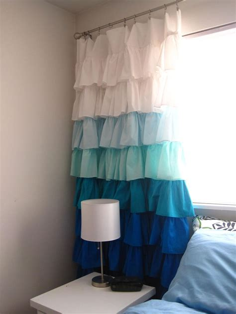 ruffled curtains diy diy ruffle curtains blue fabric girls and window