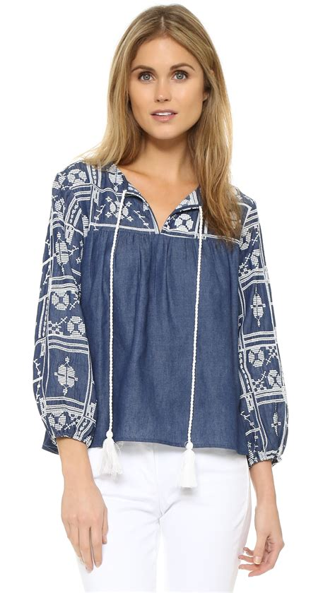 Boho Blouse Denim lyst factory embroidered top in blue