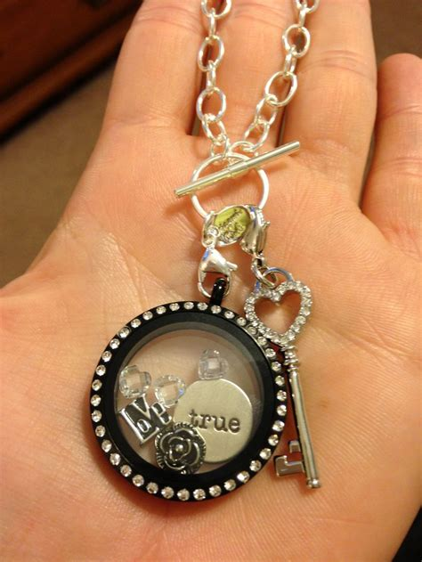 Origami Owl Black - large black locket on silver toggle chain origami owl