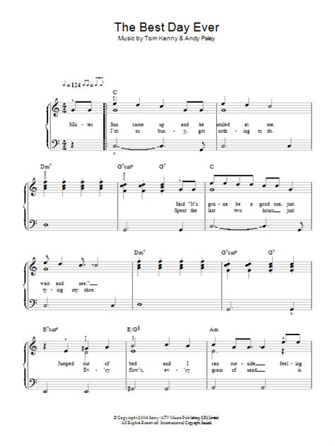 thesweethome best sheets the best day ever sheet music direct