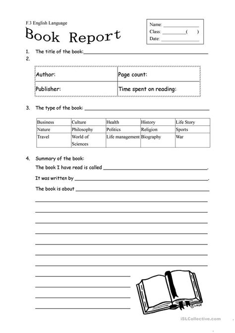 Nonfiction Book Report Form 3rd Grade by 14 Free Esl Fiction Worksheets