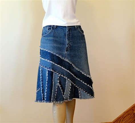 upcycled pieced jean skirt ella 2day denim skirt by