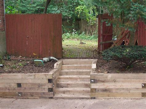 Landscape Timber Wall Design Landscape Timber Retaining Wall Steps Landscaping
