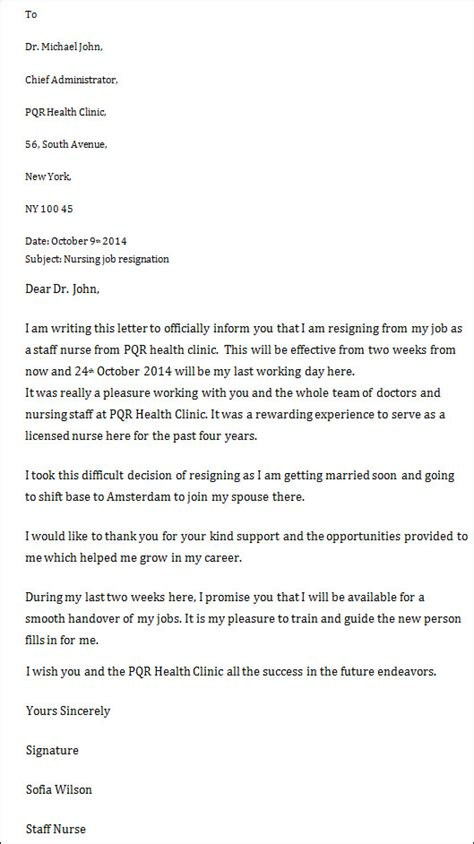 Letters Of Resignation Nursing by Sle Resignation Letter
