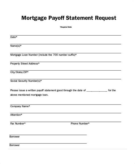 mortgage payoff letter template statement form